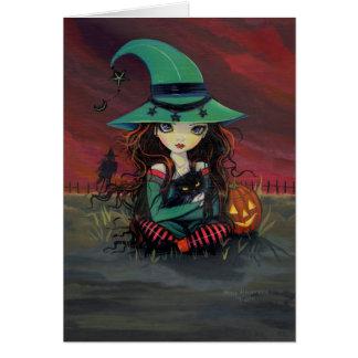 Bruja linda de la tarjeta de Halloween y gato negr