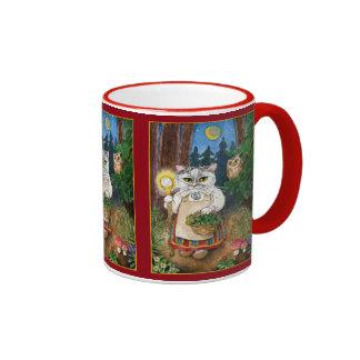 Bruja linda del gato, búho, naturaleza del cuento taza de dos colores