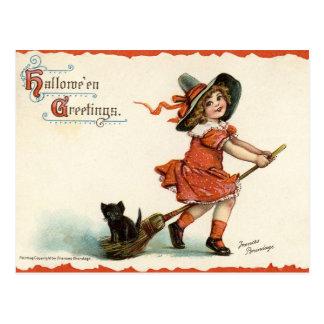 Bruja linda del vintage en la postal de Halloween