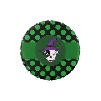 Bruja manchada de Pitbull con los puntos verdes Latas De Dulces