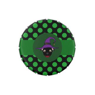 Bruja negra de Pitbull con los puntos verdes Jarrones De Dulces