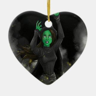 Bruja - ningún buen hecho adorno navideño de cerámica en forma de corazón