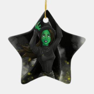 Bruja - ningún buen hecho adorno navideño de cerámica en forma de estrella