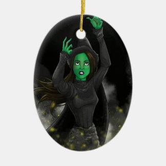 Bruja - ningún buen hecho adorno navideño ovalado de cerámica