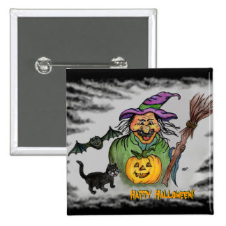 ¡Bruja, palo y gato, feliz Halloween! Pin Cuadrada 5 Cm