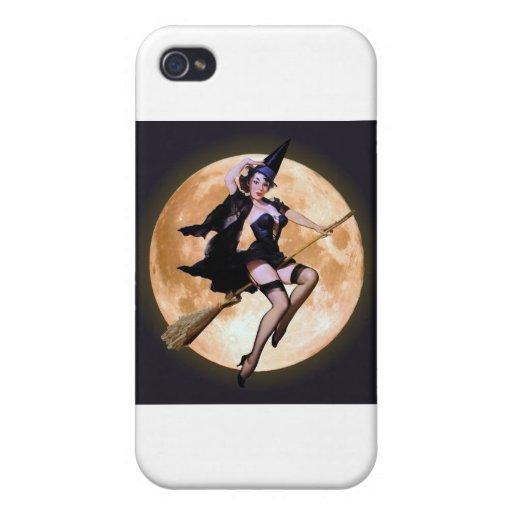 Bruja Pin-Para arriba contra una luna de cosecha iPhone 4 Cobertura