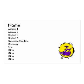 Bruja púrpura a través de la luna tarjeta de negocio
