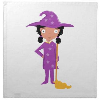 Bruja púrpura linda servilletas de papel