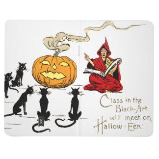 Bruja que enseña a la linterna de Jack O del gato Cuadernos Grapados