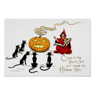 Bruja que enseña a la linterna de Jack O del gato Póster