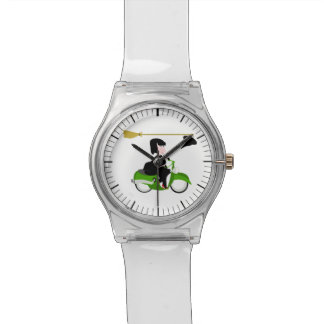 Bruja que monta un ciclomotor verde relojes de pulsera