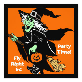 Bruja que vuela el dibujo animado de Halloween Anuncio
