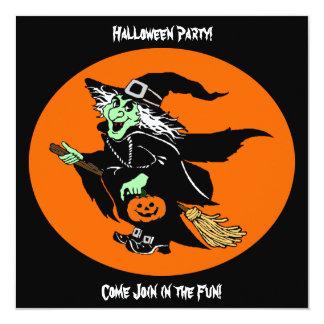 Bruja que vuela el dibujo animado de Halloween Anuncios