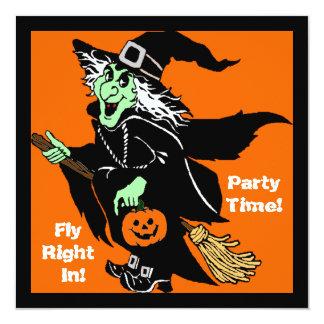 """Bruja que vuela el dibujo animado de Halloween Invitación 5.25"""" X 5.25"""""""