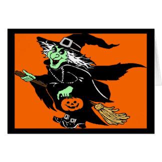 Bruja que vuela el dibujo animado de Halloween Tarjetón