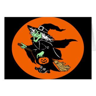 Bruja que vuela el dibujo animado de Halloween Tarjeton
