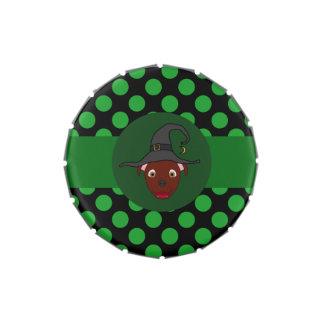 Bruja roja de Pitbull con los puntos verdes Jarrones De Caramelos