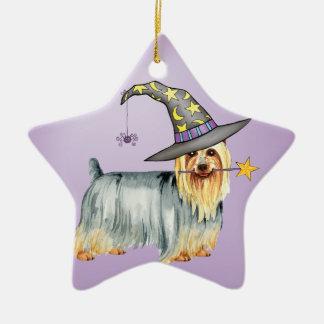 Bruja sedosa adorno navideño de cerámica en forma de estrella