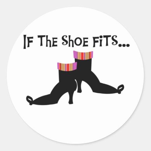 Bruja si los ajustes del zapato pegatina redonda