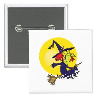 bruja torpe en el dibujo animado de Halloween del  Pin Cuadrada 5 Cm