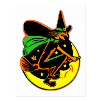 Bruja traviesa de Halloween del kitsch retro del Tarjeta Postal