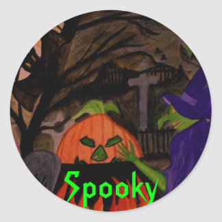 Bruja traviesa de Halloween Pegatina Redonda