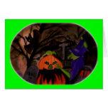 Bruja traviesa de Halloween Tarjeta
