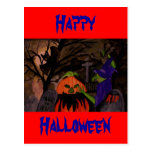 Bruja traviesa de Halloween Tarjeta Postal