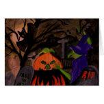 Bruja traviesa de Halloween Tarjeton