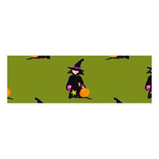 Bruja verde del niño de Halloween del monstruo Tarjetas De Visita Mini
