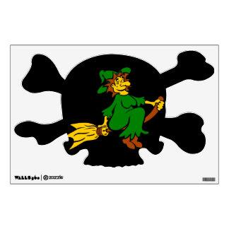 Bruja verde en la escoba vinilo decorativo