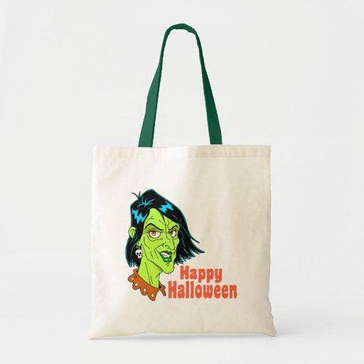 Bruja vieja del feliz Halloween Bolsas Lienzo
