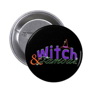 Bruja y botón famoso de Halloween Pin Redondo De 2 Pulgadas