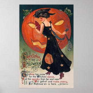 Bruja y calabaza de Halloween del poster del
