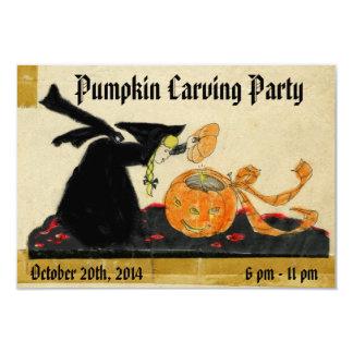 """Bruja y calabaza de Halloween que tallan al fiesta Invitación 3.5"""" X 5"""""""