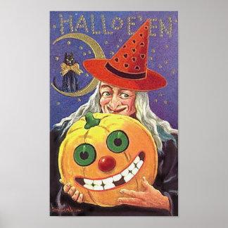 Bruja y calabaza sonrientes de Halloween Póster