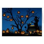 Bruja y calabazas de Halloween Tarjeton