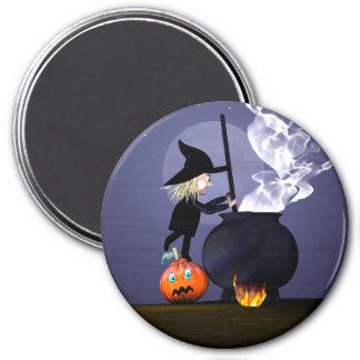 Bruja y caldera de Halloween Imán Redondo 7 Cm