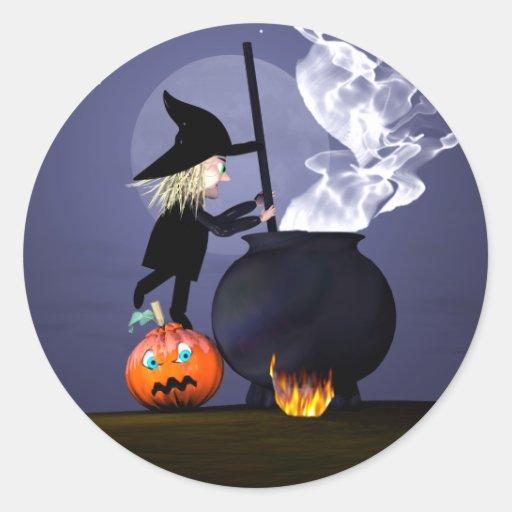 Bruja y caldera de Halloween Pegatina Redonda
