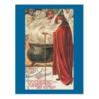 Bruja y caldera del vintage postales