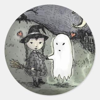 Bruja y fantasma en amor pegatina
