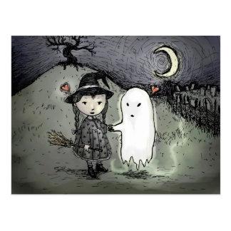 Bruja y fantasma en amor postales