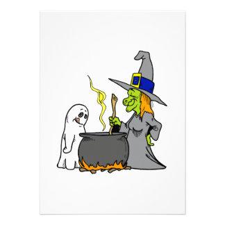 Bruja y fantasma que hacen brew anuncio personalizado
