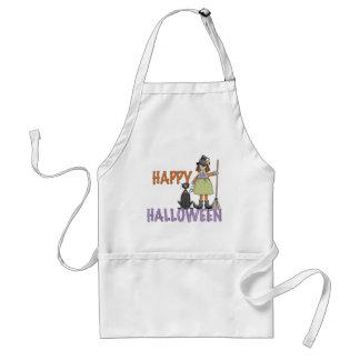 Bruja y gato del feliz Halloween Delantal