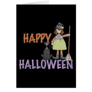 Bruja y gato del feliz Halloween Felicitación