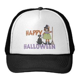Bruja y gato del feliz Halloween Gorros Bordados