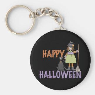 Bruja y gato del feliz Halloween Llaveros Personalizados