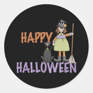 Bruja y gato del feliz Halloween Pegatina Redonda