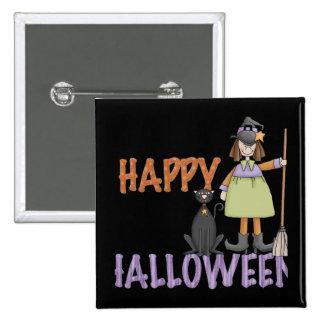 Bruja y gato del feliz Halloween Pin