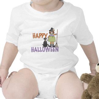 Bruja y gato del feliz Halloween Trajes De Bebé